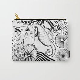 Coral reef black and white Carry-All Pouch