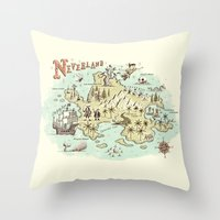 neverland Throw Pillows featuring Neverland Map by Ryan O'Rourke