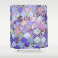 decorative Shower Curtains featuring Royal Purple, Mauve & Indigo Decorative Moroccan Tile Pattern by micklyn