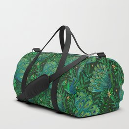 Peacocks in Emerald Forest Duffle Bag