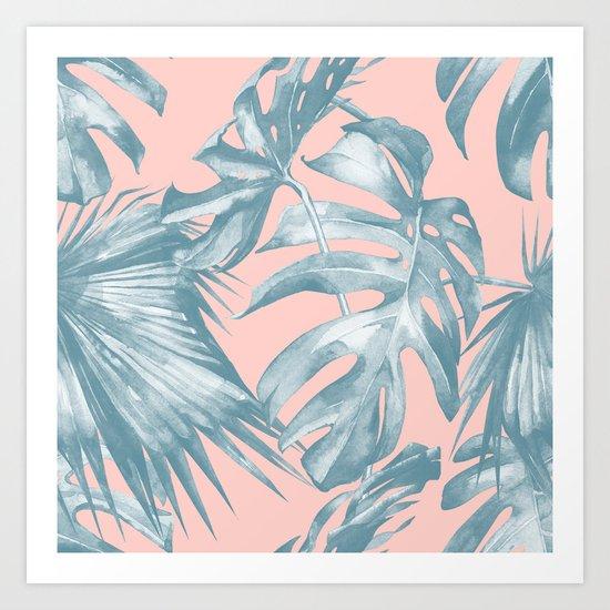 Tropical Leaves Ocean Blue on Coral Pink Art Print