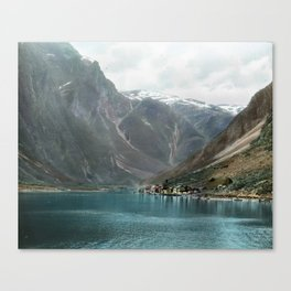 Village by the Lake & Mountains Canvas Print