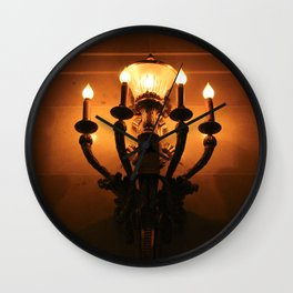 Orange and Black Lit Light Illuminated Montreal Wall Sconce Wall Clock