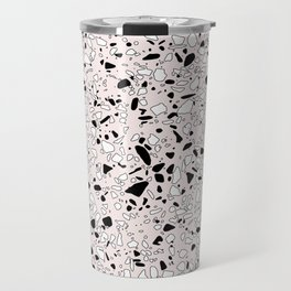 'Speckle Party' Pink Black White Dots Speckle Terrazzo Pattern Travel Mug