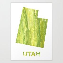 Utah map outline Art Print