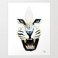 cheetah Art Prints featuring Cheetah  by Tetevi Teteh