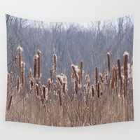 furry Wall Tapestries featuring Furry Cattails by DanByTheSea