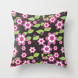 Graphic flowers: Britannia Flowers (black, pink and green) Throw Pillow