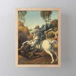 Saint George and the Dragon Oil Painting By Raphael Framed Mini Art Print