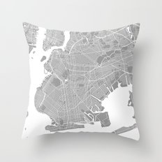 Brooklyn map grey Throw Pillow
