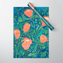 Coral Proteas on Blue Pattern Painting Wrapping Paper