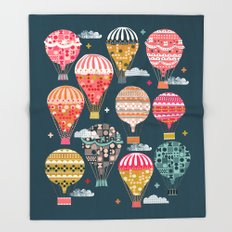 Hot Air Balloons - Retro, Vintage-inspired Print and Pattern by Andrea Lauren Throw Blanket