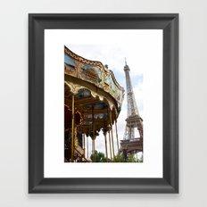 Paris Eiffel Tower Carousel - Paris Eiffel Tower and Carousel - Eiffel Tower Merry Go Round Framed Art Print