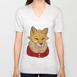 Sophisticated Fox Art Print Unisex V-Neck