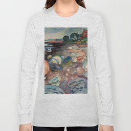 Shore with Red House by Edvard Munch Long Sleeve T-shirt