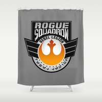 rogue Shower Curtains featuring Rogue Squadron patch v2 by Buby87