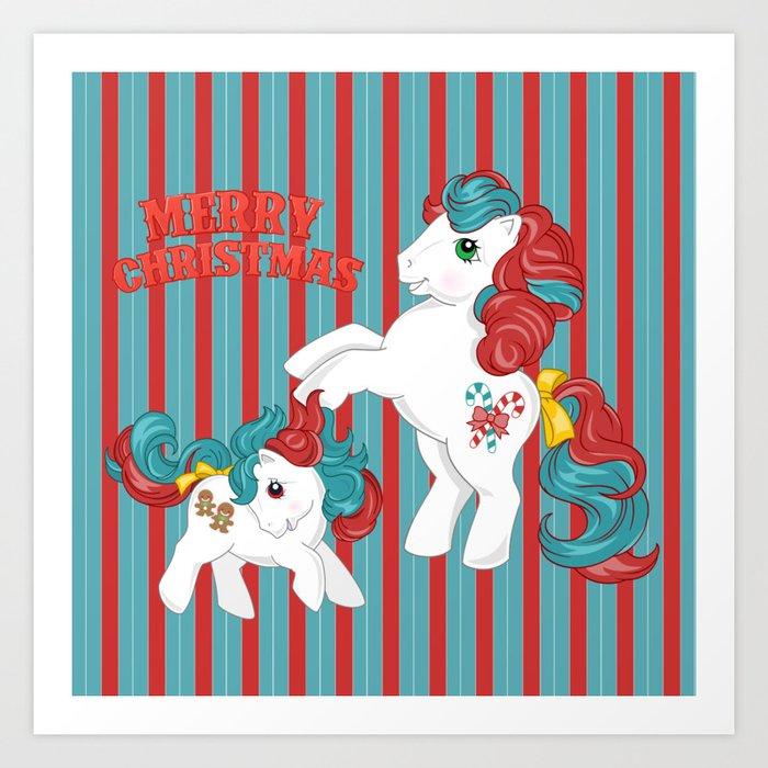 My Little Pony Christmas.G1 My Little Pony Merry Christmas Art Print By Gertee