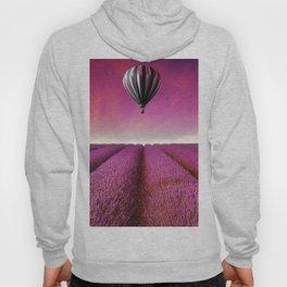 Marvellous Hot Air Balloon Over Purple Lavender Field Ultra HD Hoody