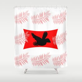 pink feathers and black bird Shower Curtain