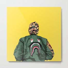 bape shark yellow Metal Print