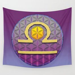 LIBRA Flower of Life Astrology Design Wall Tapestry
