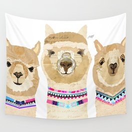 Colorful Alpaca Collage Wall Tapestry