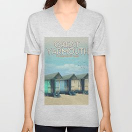 Great Yarmouth Beach travel poster Unisex V-Neck