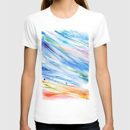 abstract beach watercolor painting T-shirt