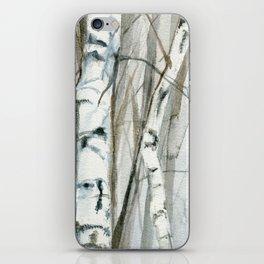 Winter Birch Trees Woodland Watercolor Original Art Print iPhone Skin