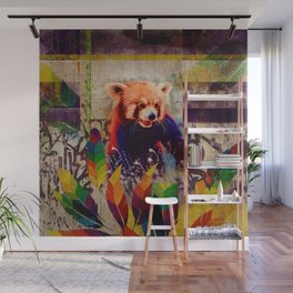 Red Panda Abstract vintage pop art composition Wall Mural