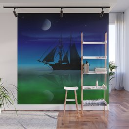 Sailing On A Sea of Green. Wall Mural