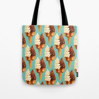 novelty Tote Bags featuring Ice Cream Pattern - Teal by Kelly Gilleran