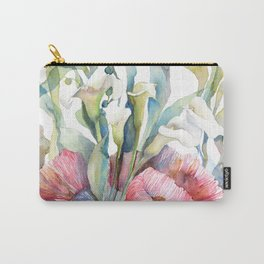 White Calla Lily and Corals Seaweed Watercolor Surreal Botanical Underwater Carry-All Pouch