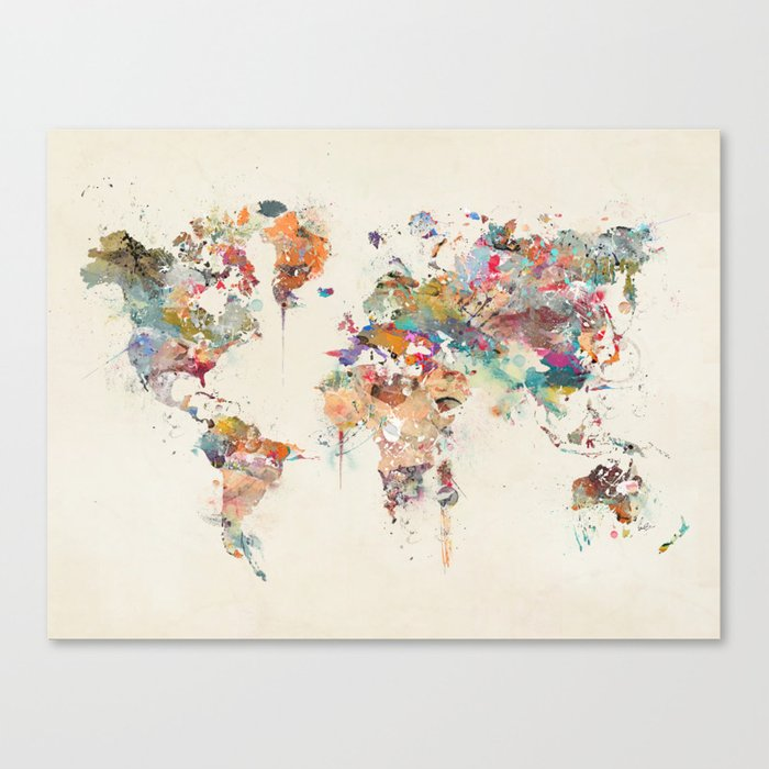 World map watercolor canvas print by bribuckley society6 world map watercolor canvas print gumiabroncs Gallery