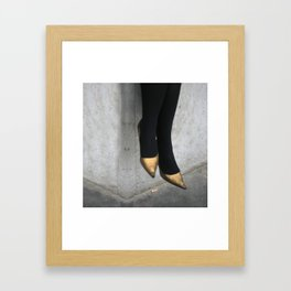 the girl in the gold shoes Framed Art Print