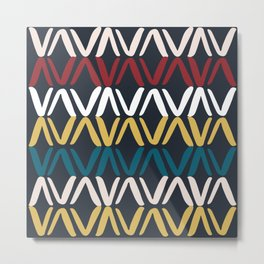 Blue and Yellow Geometric Print Metal Print