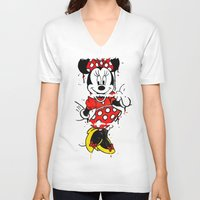 minnie V-neck T-shirts featuring Minnie Mashed by Dave Seedhouse.com