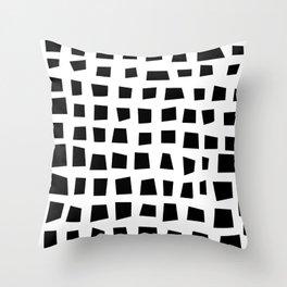 black free squares Throw Pillow