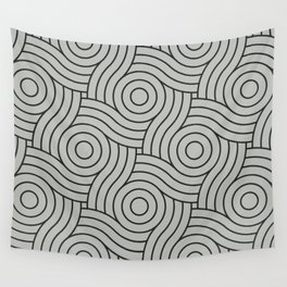 Circle Swirl Pattern Gray, Inspired by Benjamin Moore Metropolitan Gray AF-690 Wall Tapestry