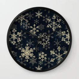 Snowflake Crystals in Gold Wall Clock