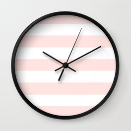 Misty rose - solid color - white stripes pattern Wall Clock