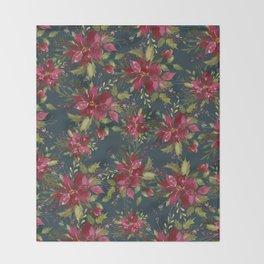 Poinsettia Pattern II Throw Blanket