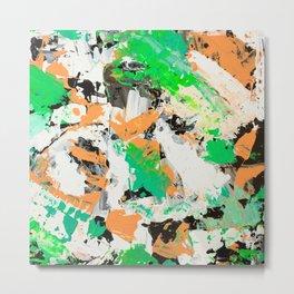Tropical vibes black salmon white green neon abstract acrylic paint Metal Print