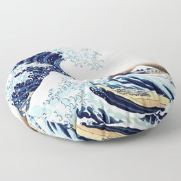 The Great Wave off KanagawA muted Floor Pillow