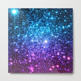 Glitter Galaxy Stars : Turquoise Blue Purple Hot Pink Ombre Metal Print