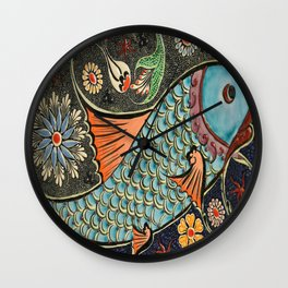 bohemian folk art orange aqua blue japanese good luck koi fish Wall Clock