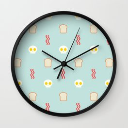 Bacon & Skulls - in Blue Wall Clock