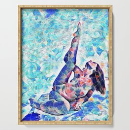 3047-JPC Abstract Nude in Blue Green Yoga Stretch Feminine Power Serving Tray