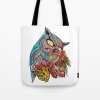gemma correll Tote Bags featuring Zombie Owl by Gemma Pallat by ToraSumi