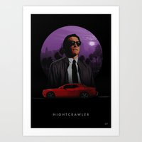 nightcrawler Art Prints featuring Nightcrawler by Ash Reynolds